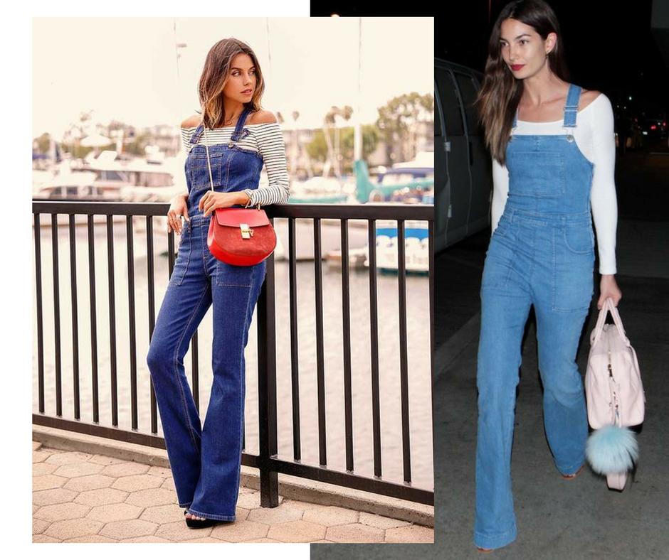 Macacão jeans + blusa decote ombro a ombro imagem - Via pinterest