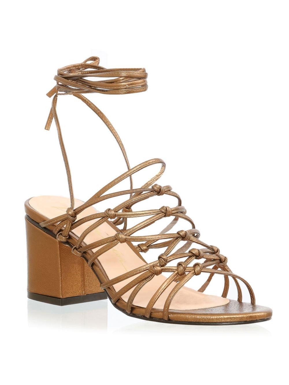 Sandália Salto largo Dourada - aqui