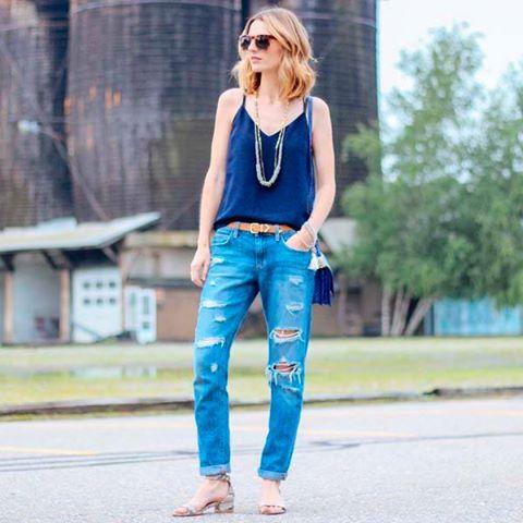 Boyfriend jeans - muito estilo, sempre imagem - via pinterest