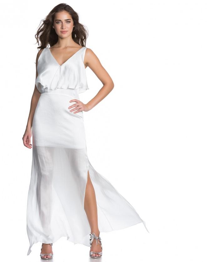 Vestido branco, longo - Aqui