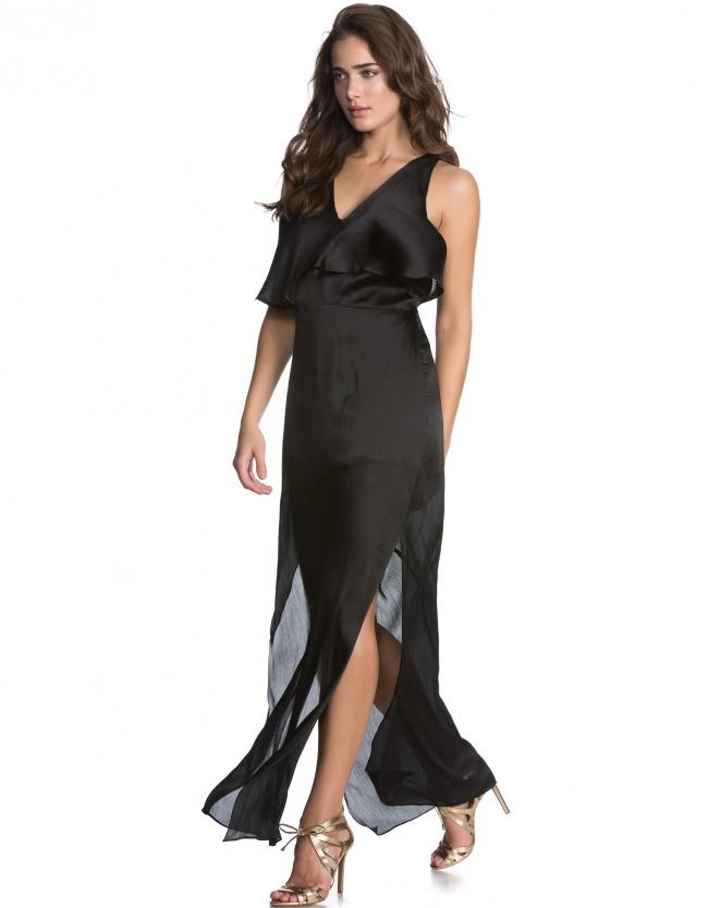 Vestido Preto, longo com fendas - Aqui