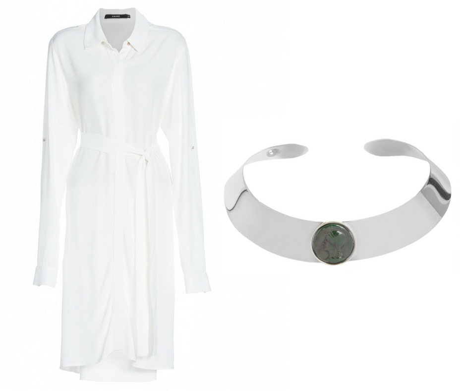 1- Vestido camisa branco - AQUI 2- Choker prata - AQUI