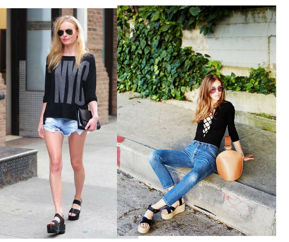 As Flatforms estiveram nos pés de todas as fashionistas do Hemisfério Norte nesse verão imagem - via pinterest / montagem Buyer & Brand