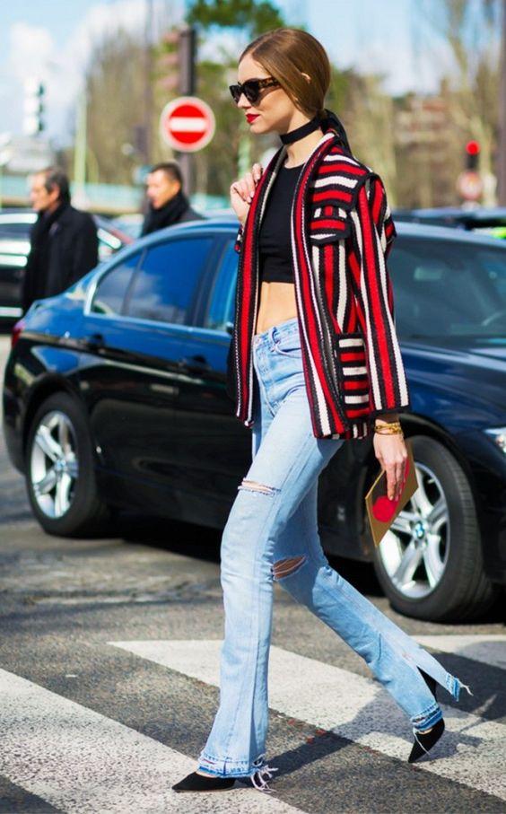 Calça Flare - estilo eterno Foto - Chiara Ferragni via pinterest