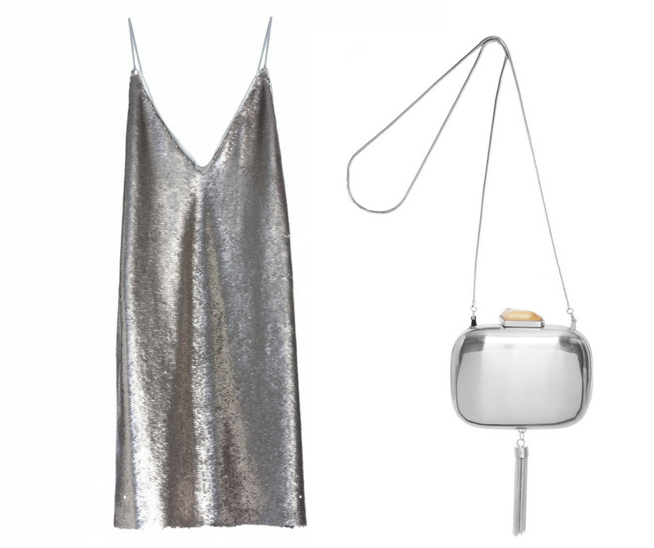 1- Vestido prata - AQUI 2- Clutch Prata - AQUI