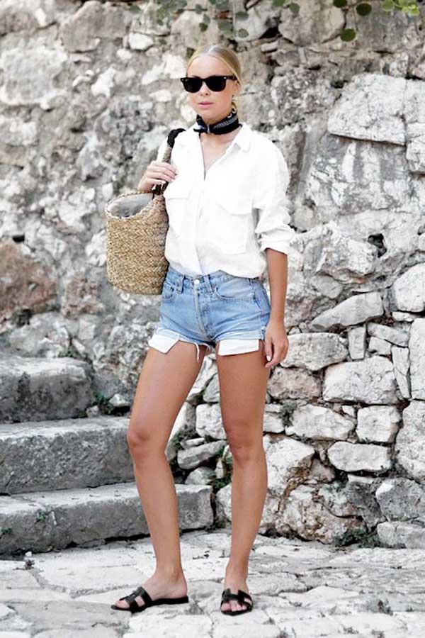 Mais camisa branca para o look de verão! Imagem via pinterest