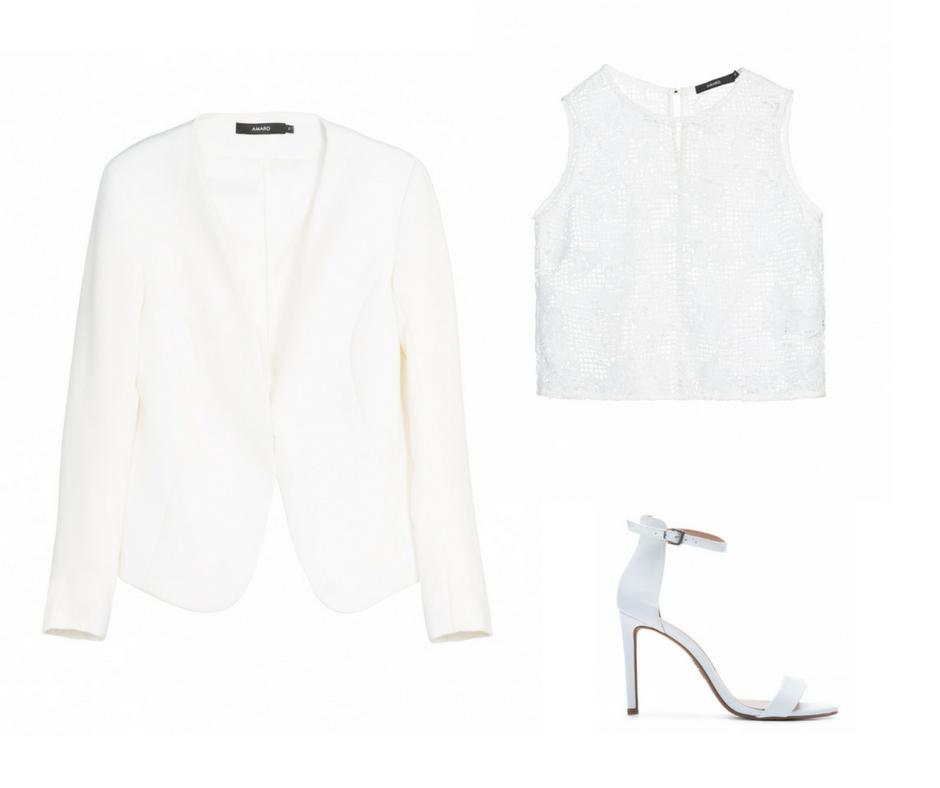 1- Blazer branco - AQUI 2- Blusa renda - AQUI 3- Sandália Branca - AQUI